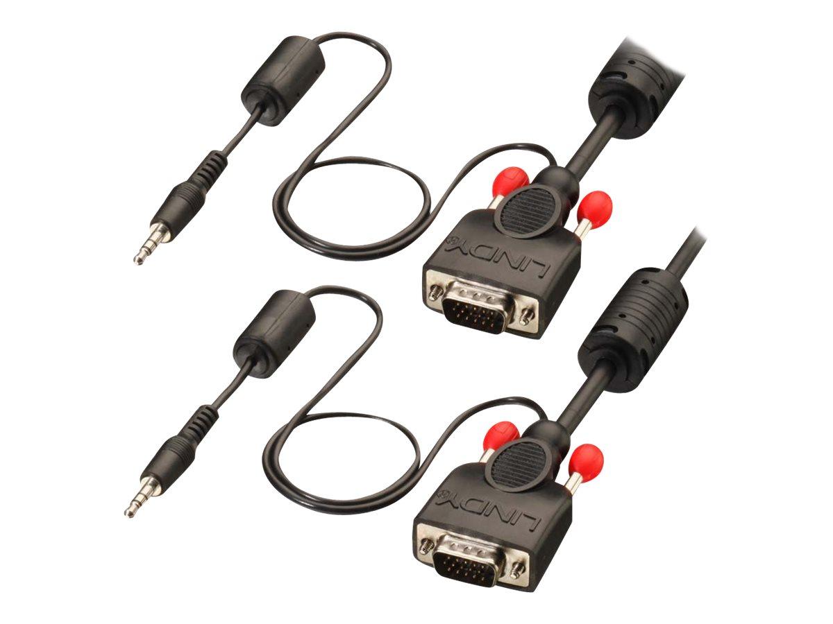 Lindy Premium - VGA-Kabel - HD-15 (VGA), Stereo Mini-Klinkenstecker (M) bis HD-15 (VGA), Stereo Mini-Klinkenstecker (M) - 5 m -