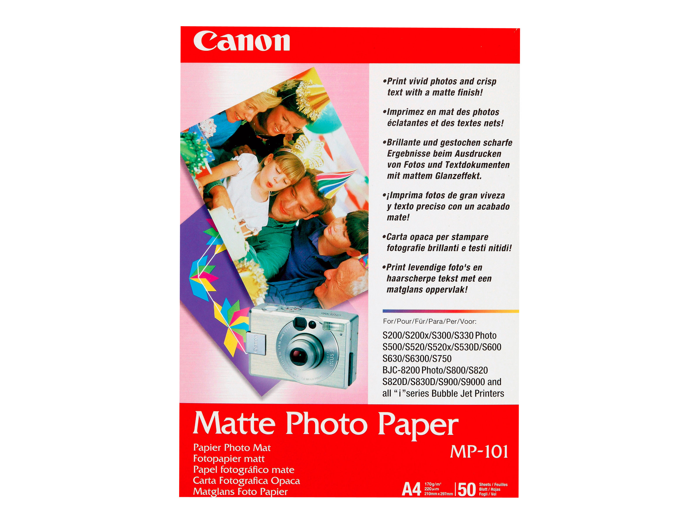 Canon MP-101 - Matt - A4 (210 x 297 mm) 50 Blatt Fotopapier - für PIXMA iP90, iX7000, MG8250, MP490, MP510, MP550, MP560, MP960,
