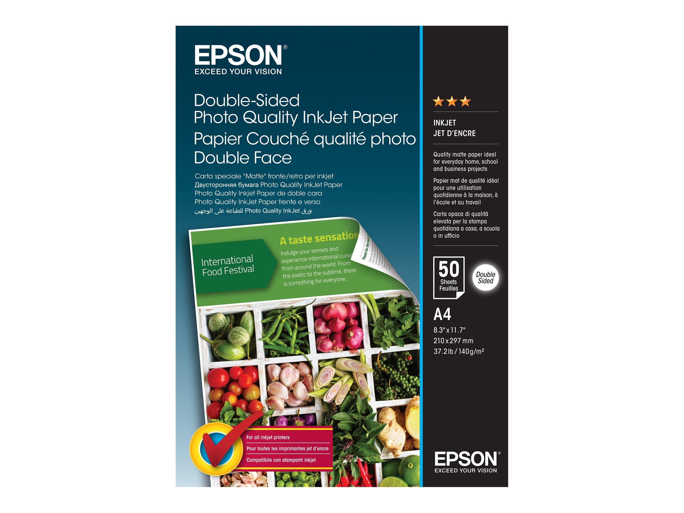 Epson Double-Sided Photo Quality Inkjet Paper - Matt - A4 (210 x 297 mm) - 140 g/m² - 50 Blatt Fotopapier - für EcoTank ET-2650,