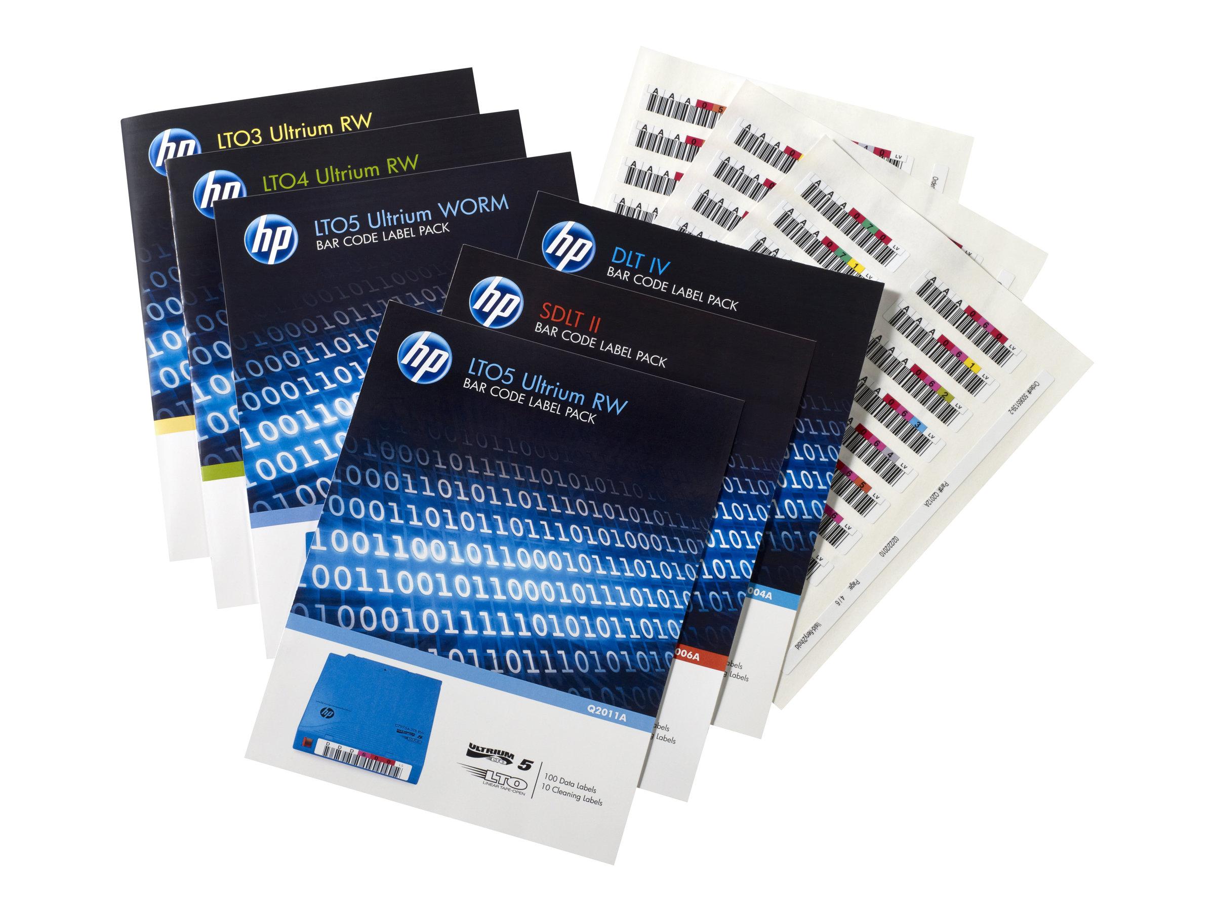 HPE Ultrium 4 RW Bar Code Label Pack - Strichcodeetiketten - für HPE MSL2024, MSL4048; 1/8 G2 Tape Autoloader; LTO-4 Ultrium; St