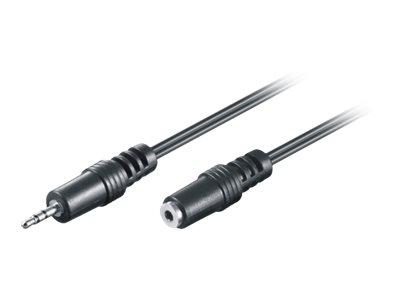 M-CAB - Audioverlängerungskabel - Stereo Mikro-Stecker (W) bis Stereo Mikro-Stecker (M) - 2 m - Schwarz - flach