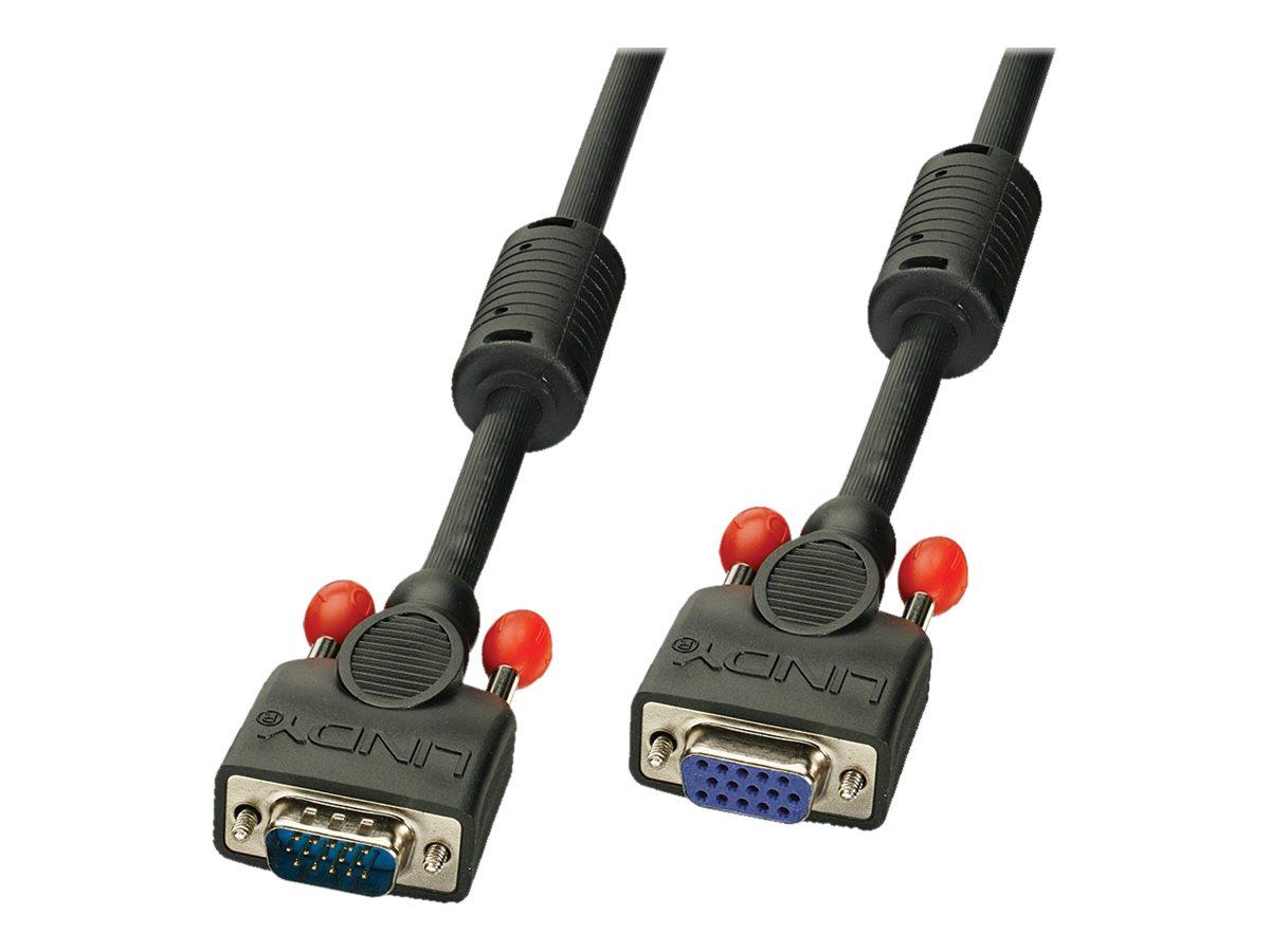Lindy - VGA-Verlängerungskabel - HD-15 (VGA) (W) bis HD-15 (VGA) (M) - 25 cm - geformt, Daumenschrauben - Schwarz