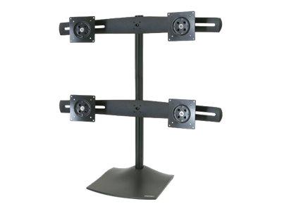 Ergotron DS100 Quad-Monitor Desk Stand - Aufstellung für 4 LCD-Anzeigen - Aluminium, Stahl - Schwarz - Bildschirmgrösse: bis zu