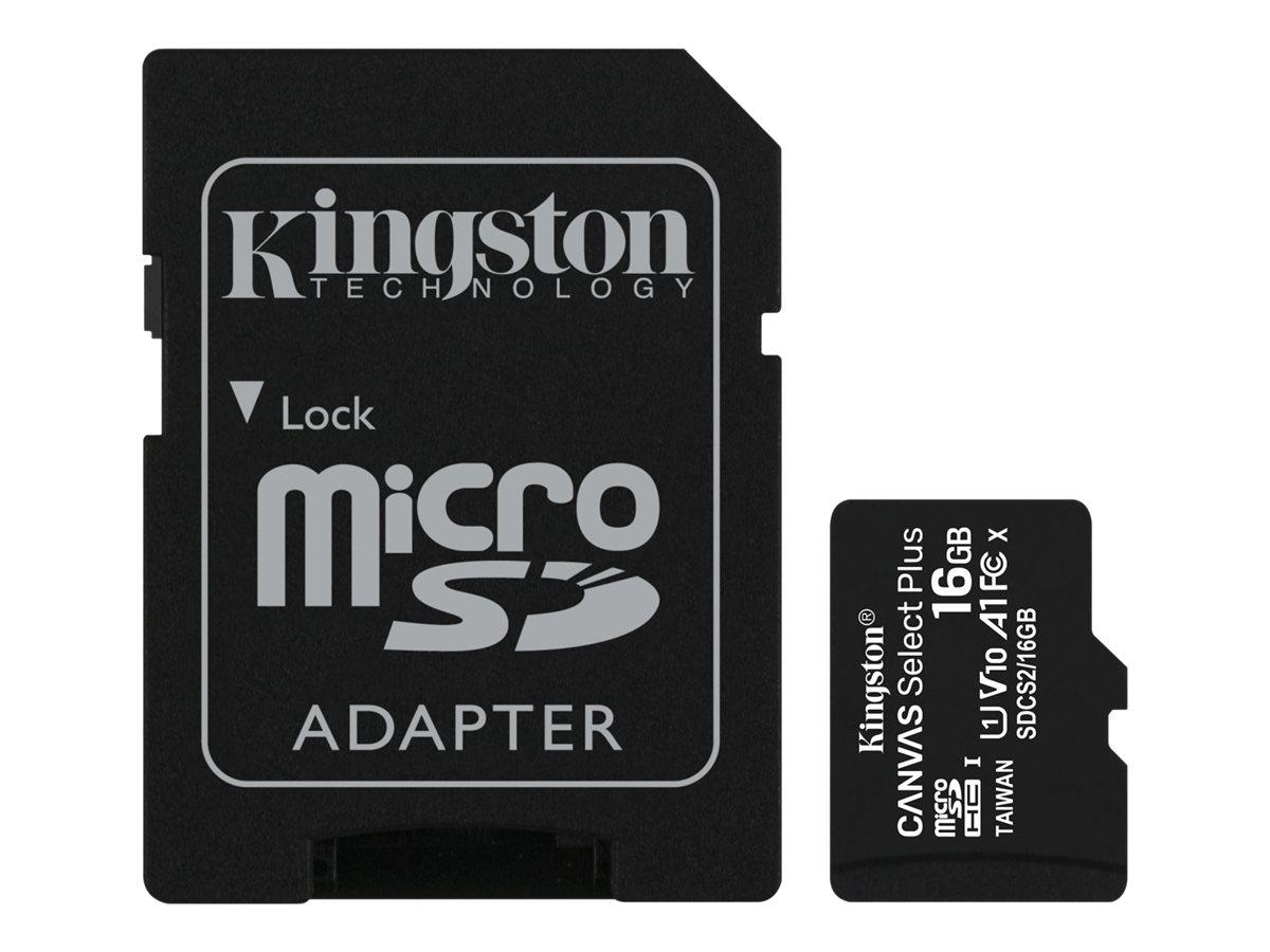 Kingston Canvas Select Plus - Flash-Speicherkarte (microSDHC/SD-Adapter inbegriffen) - 16 GB - A1 / Video Class V10 / UHS Class