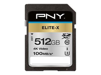 PNY Elite-X - Flash-Speicherkarte - 512 GB - UHS-I U3 / Class10 - SDXC UHS-I