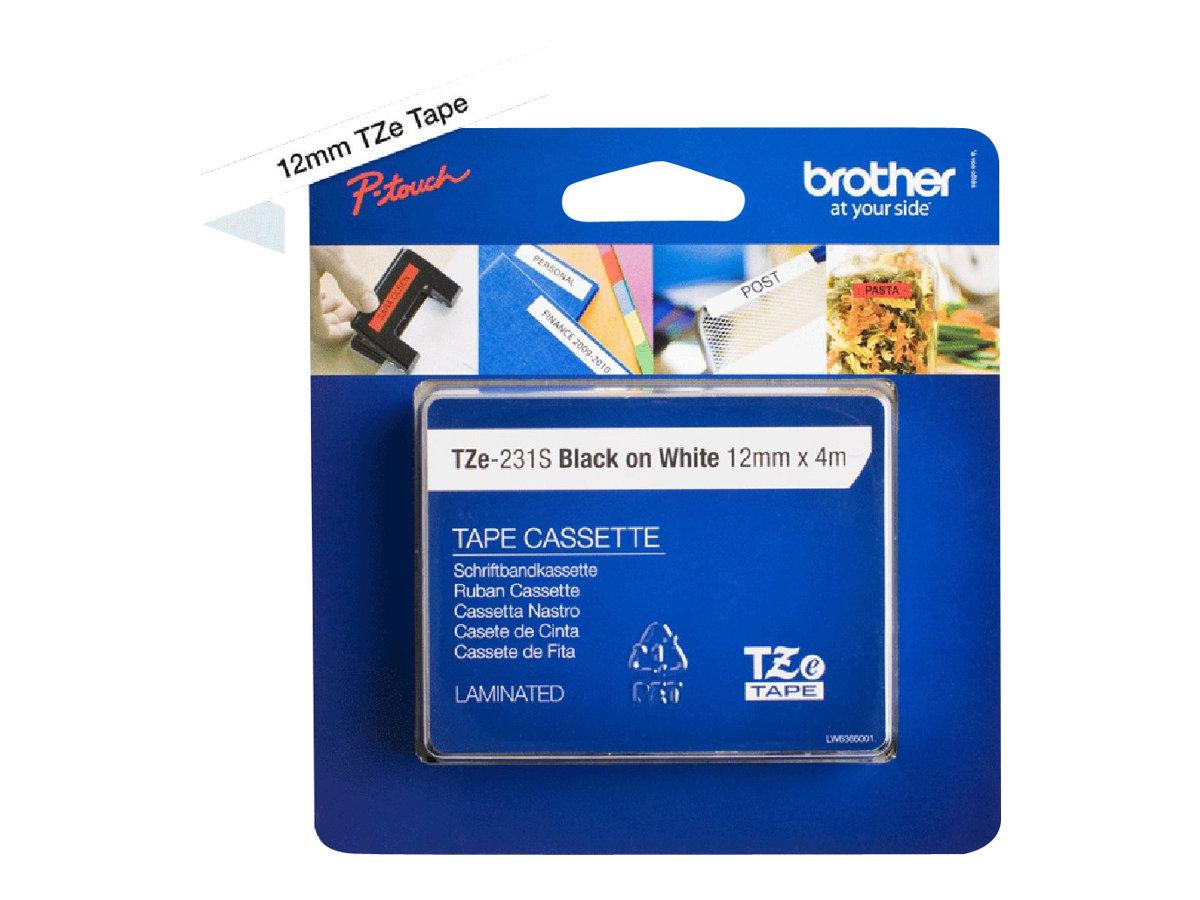 Brother TZe231S - Schwarz auf Weiss - Rolle (1,2 cm x 4 m) 1 Rolle(n) laminiertes Band - für P-Touch PT-3600, D210, D400, D450,