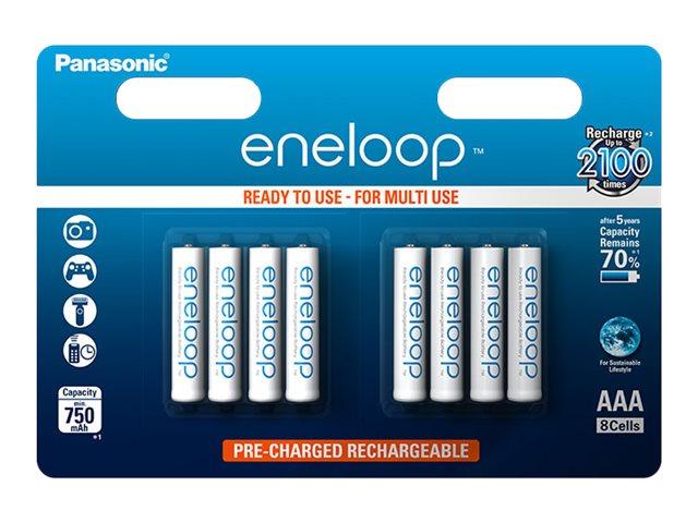 Panasonic eneloop BK-4MCCE/8BE - Batterie 8 x AAA-Typ - NiMH - (wiederaufladbar) - 750 mAh