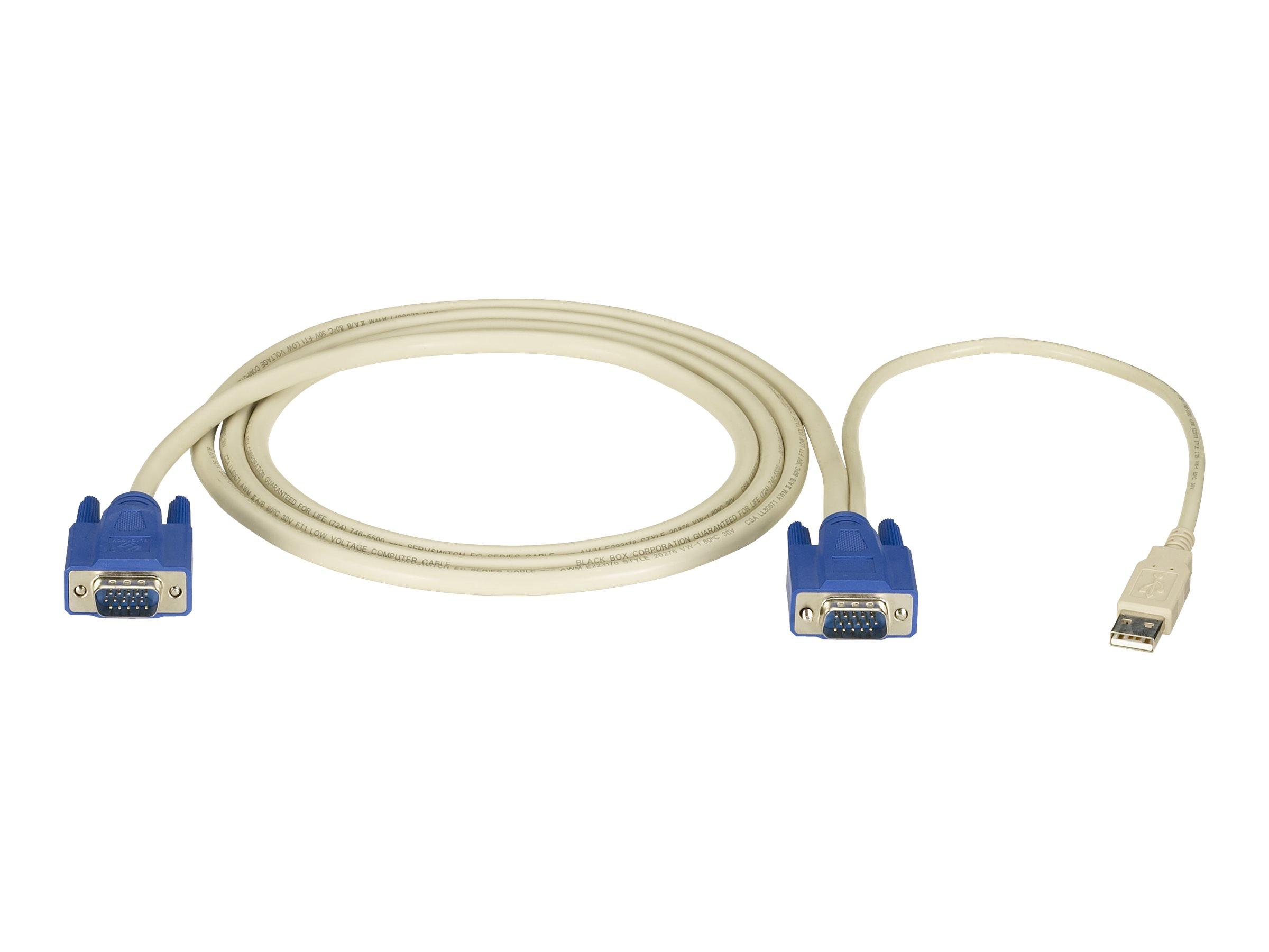 Black Box ServSwitch Server Cable - Tastatur- / Video- / Maus- (KVM-) Kabel - HD-15 (VGA) (M) bis USB, HD-15 (VGA) (M) - 1.8 m -
