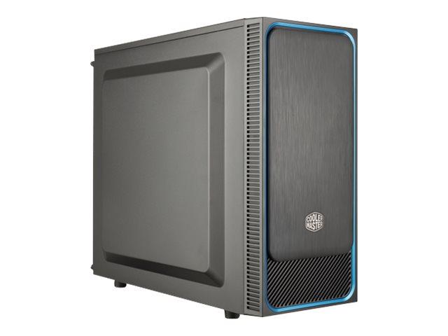 Cooler Master MasterBox E500L - Tower - micro ATX - ohne Netzteil (ATX) - Schwarz mit blauer Verzierung - USB/Audio