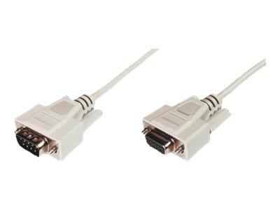ASSMANN - Serielles Verlängerungskabel - DB-9 (W) bis DB-9 (M) - 10 m - geformt, Daumenschrauben - beige