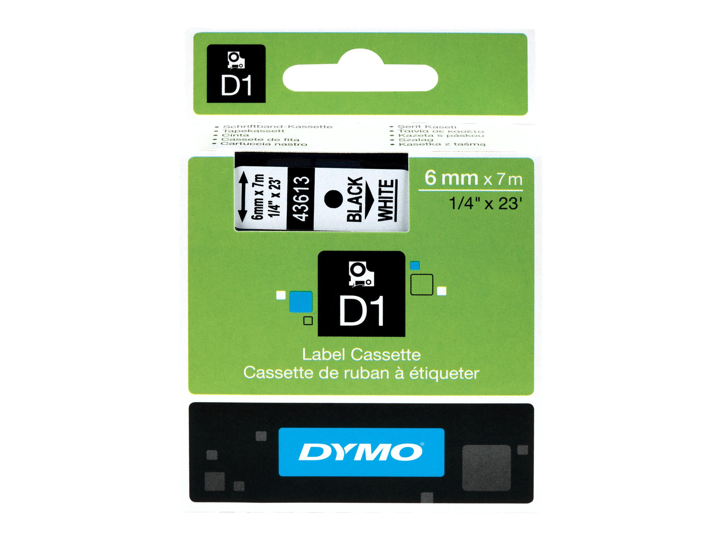 DYMO D1 - Polyester - selbstklebend - Schwarz auf Weiss - Rolle (0,6 cm x 7 m) 1 Rolle(n) Etikettenband - für LabelMANAGER 100,