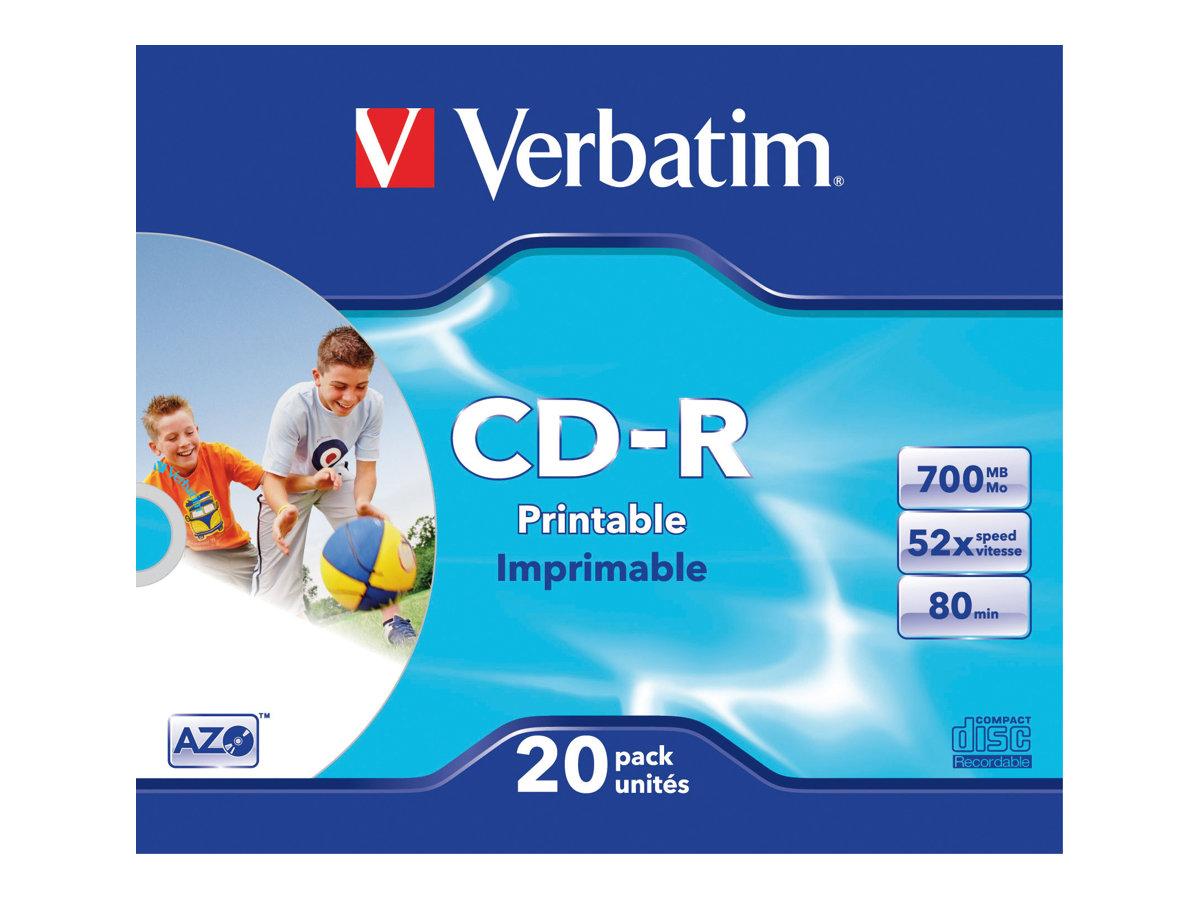 Verbatim DataLifePlus - 20 x CD-R - 700 MB (80 Min) 52x - mit Tintenstrahldrucker bedruckbare Oberfläche - Slim Jewel Case