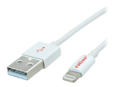 Roline - Lightning-Kabel - Lightning (M) bis USB (M) - 1 m - abgeschirmt - weiss