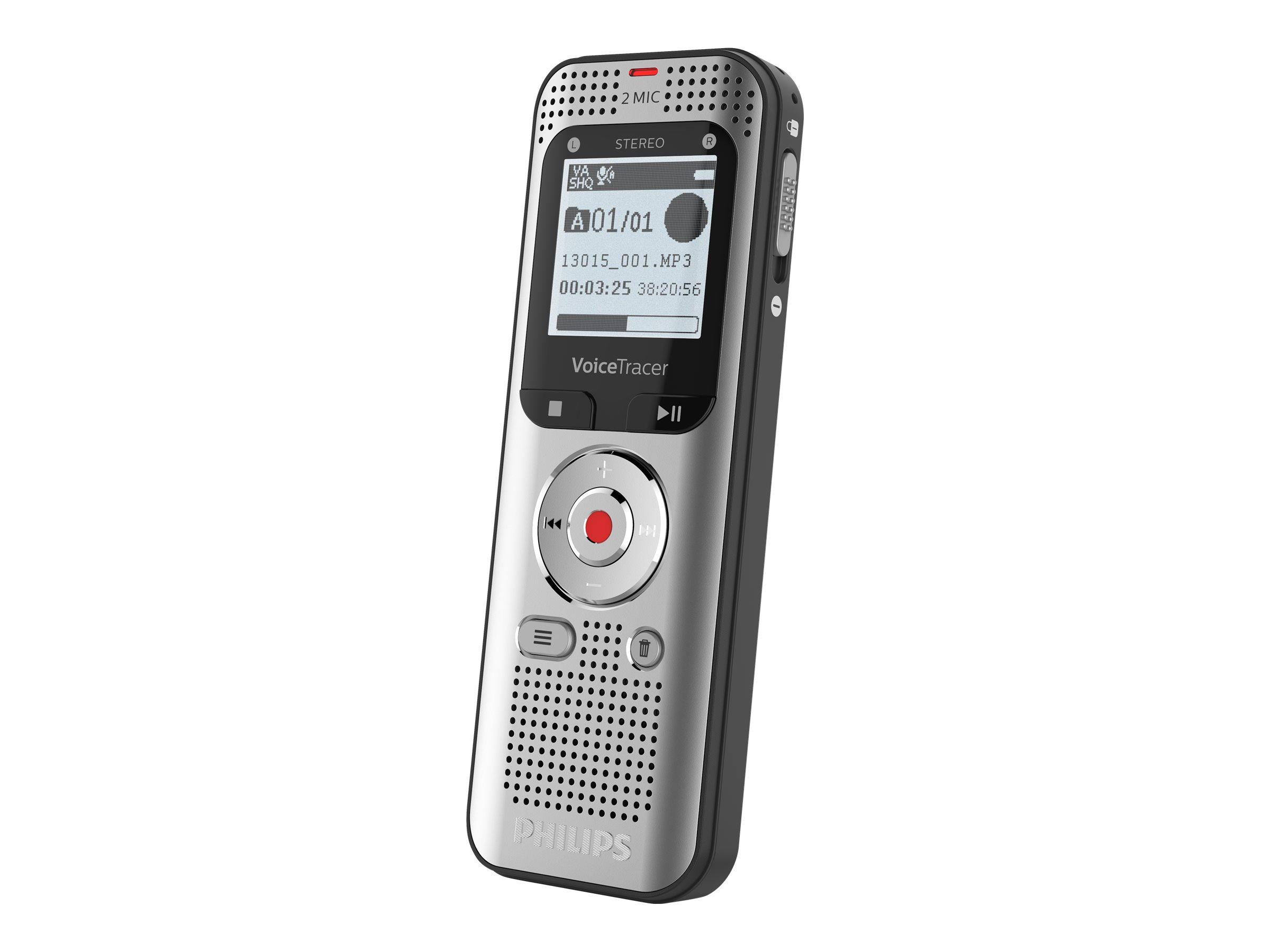 Philips Voice Tracer DVT2050 - Voicerecorder - 8 GB - Aluminium Light Silver Metal Front und Black