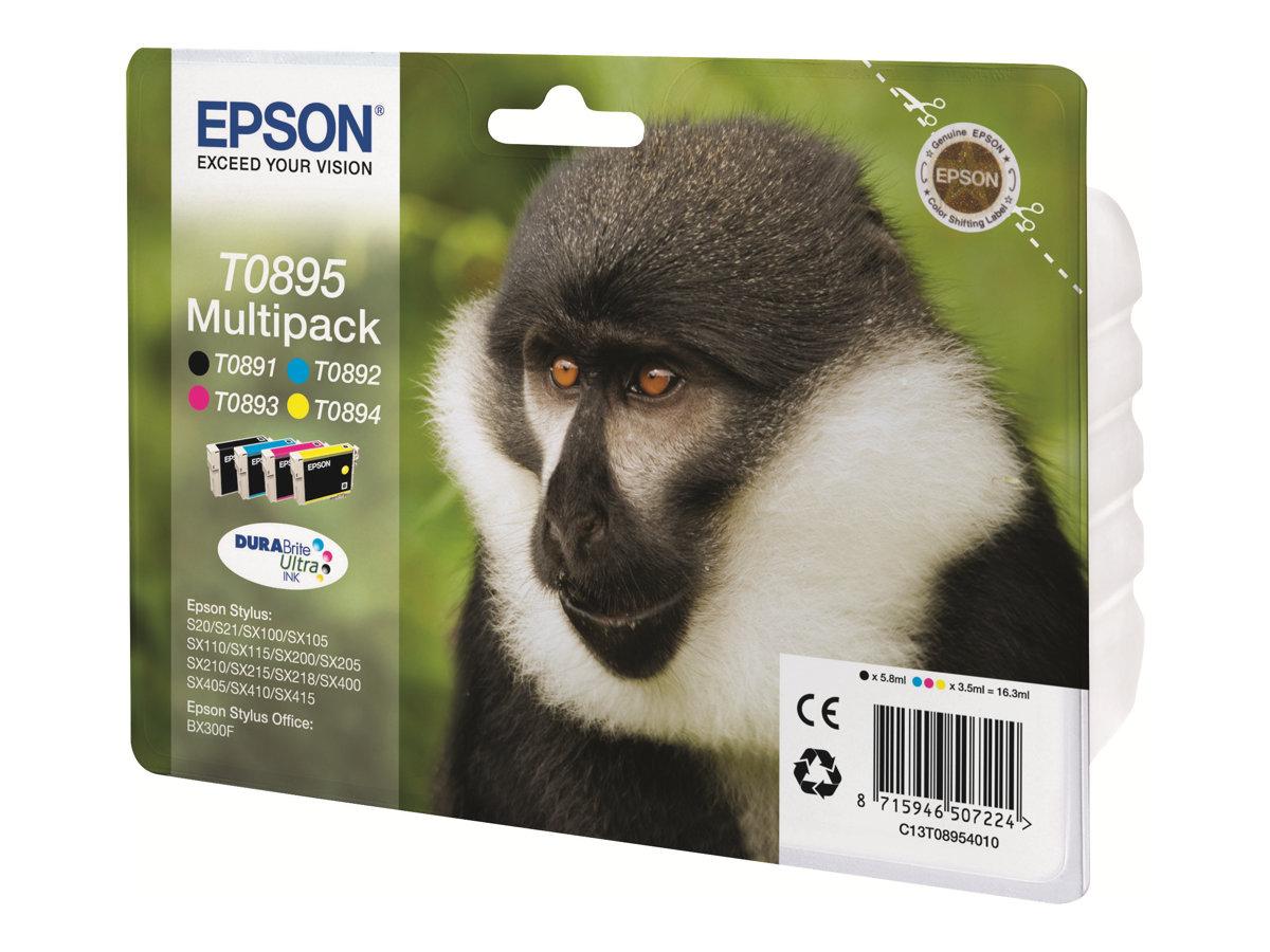 Epson T0895 Multipack - 4er-Pack - Schwarz, Gelb, Cyan, Magenta - Original - Blister mit RF- / aktustischem Alarmsignal - Tinten