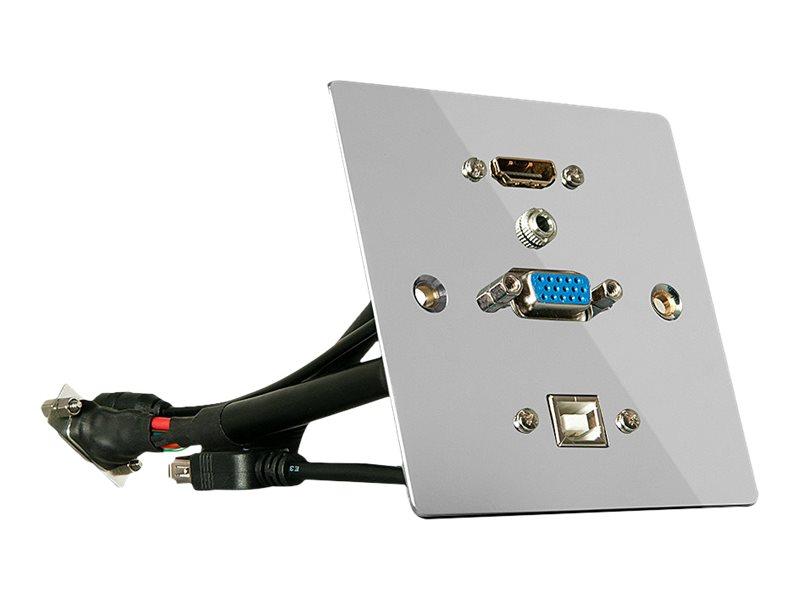 LINDY - Wandbefestigung - HD-15, Mini-Phone 3,5 mm, HDMI, USB-Typ B - Silber - Abdeckung mit einer Aussparung