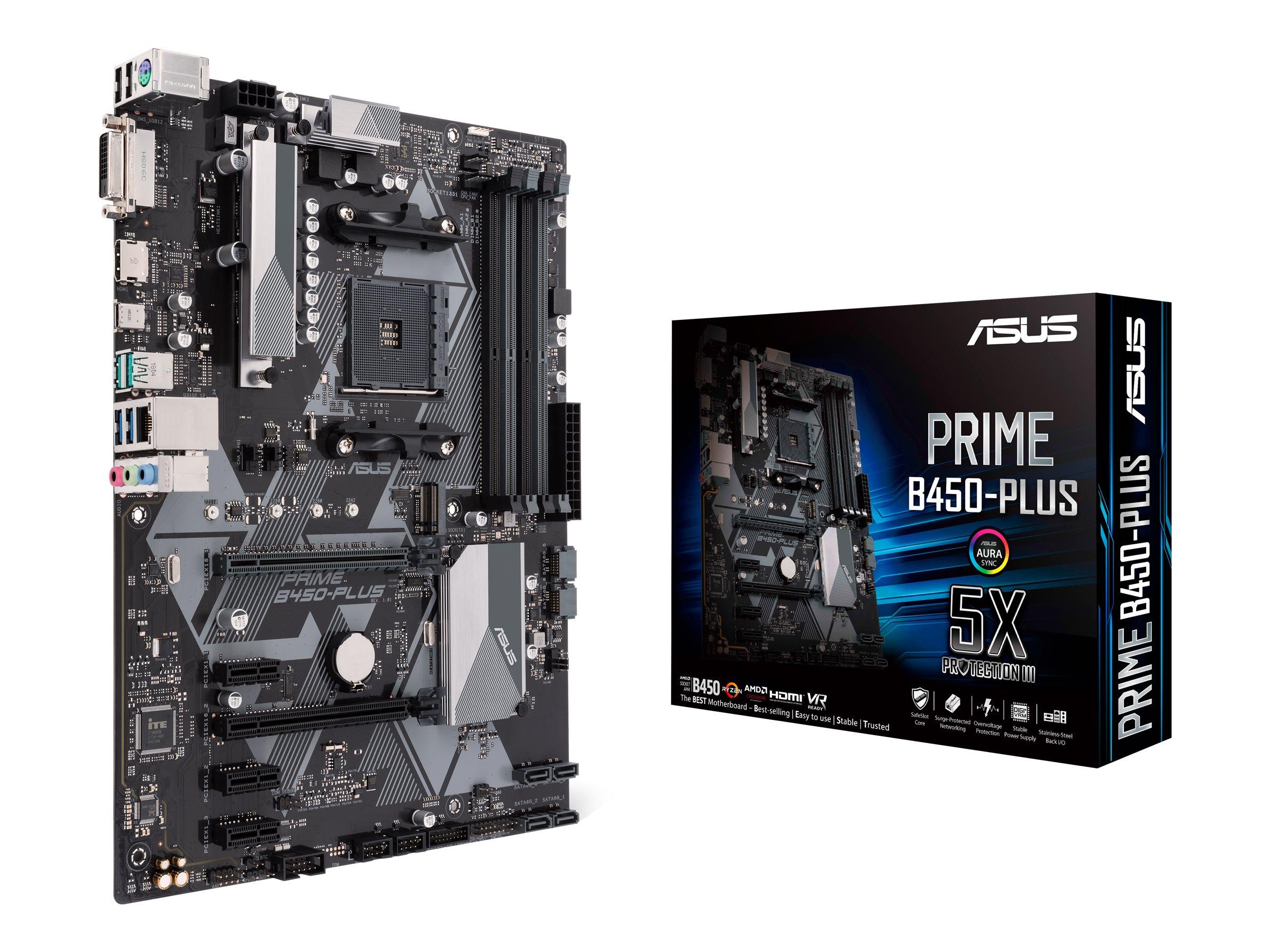 ASUS PRIME B450-PLUS - Motherboard - ATX - Socket AM4 - AMD B450 - USB 3.1 Gen 1, USB 3.1 Gen 2, USB-C Gen1