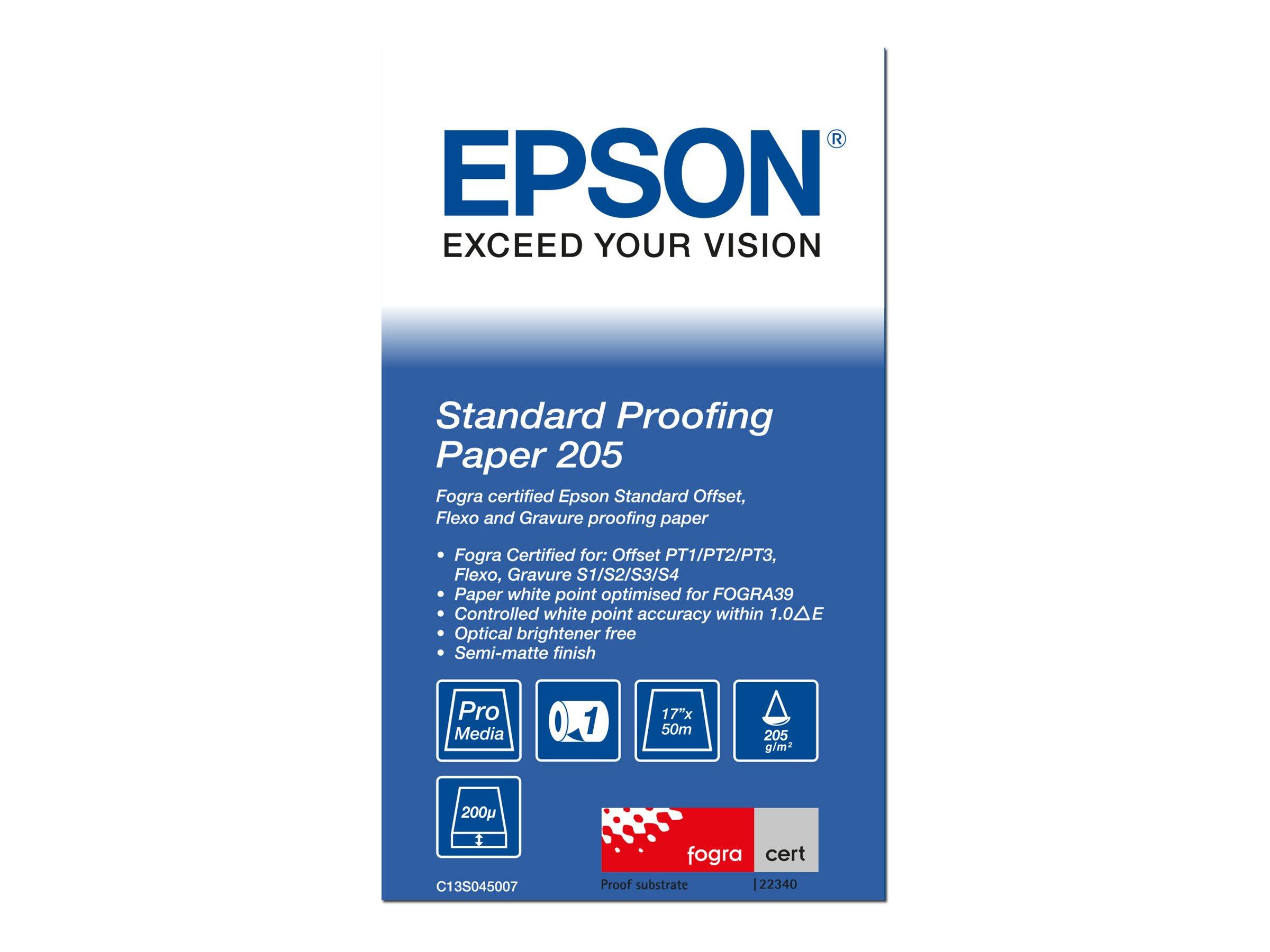 Epson Proofing Paper Standard - Rolle (43,2 cm x 50 m) 1 Rolle(n) Proofing-Papier - für Stylus Pro 4900 Spectro_M1; SureColor P5