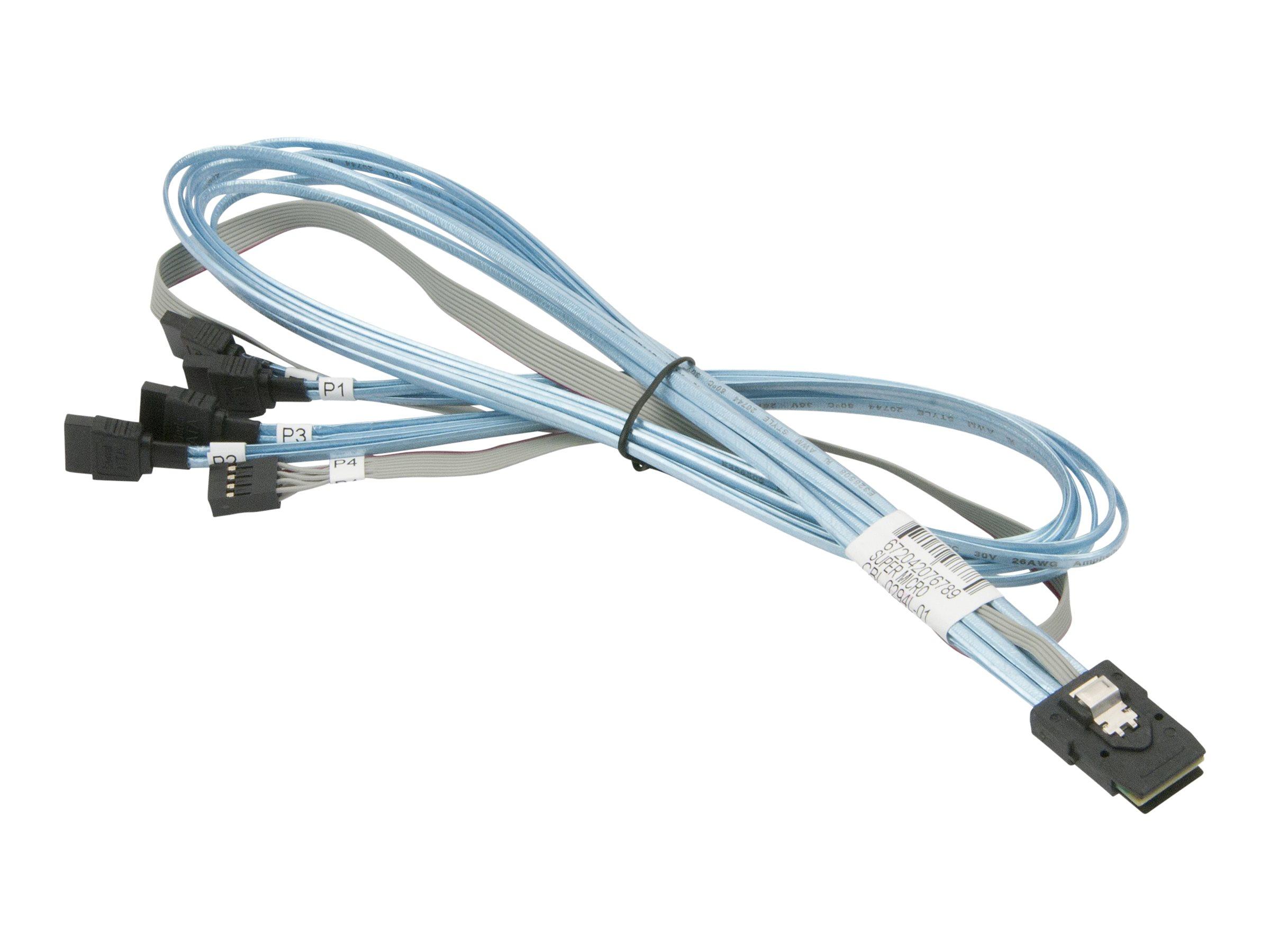 Supermicro - SATA- / SAS-Kabel - mit Sidebands - Überkreuzung - 36 PIN 4iMini MultiLane (M) bis SATA (W) - 70 cm