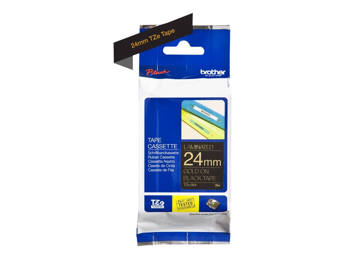 Brother TZe-R354 - Seidig - gold auf schwarz - Rolle (2,4 cm x 4 m) 1 Rolle(n) Band - für Brother PT-D600; P-Touch PT-3600, D800