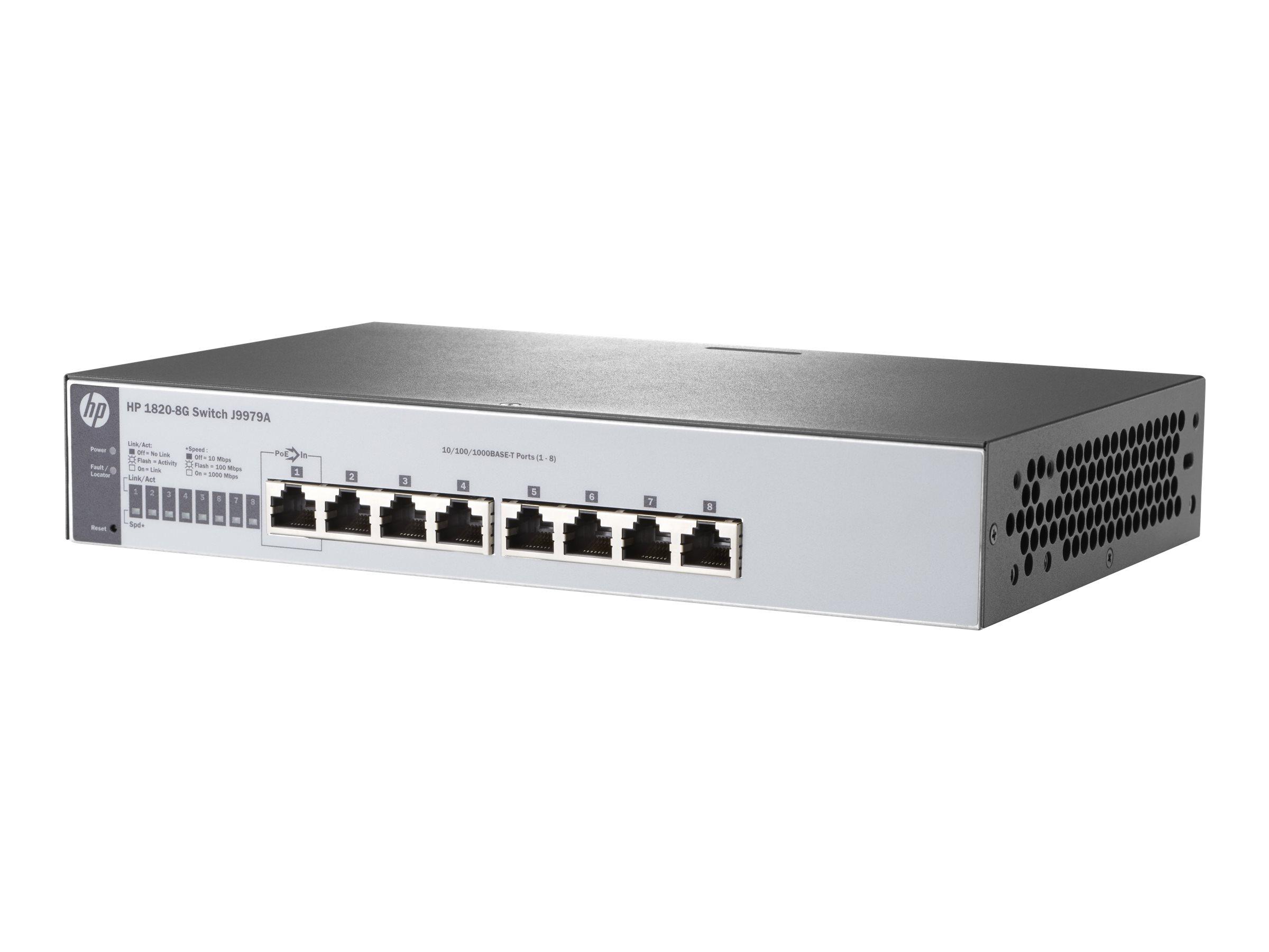 HP 1820-8G - Switch - verwaltet - 8 x 10/100/1000 - Desktop, an Rack montierbar