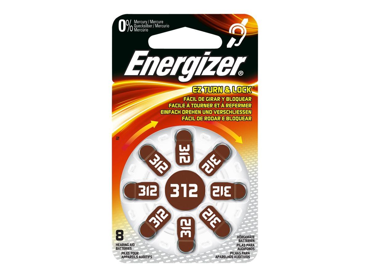 Energizer Hearing Aid ENR 312 - Batterie 8 x PR41 - Zink-Luft - 160 mAh - braun