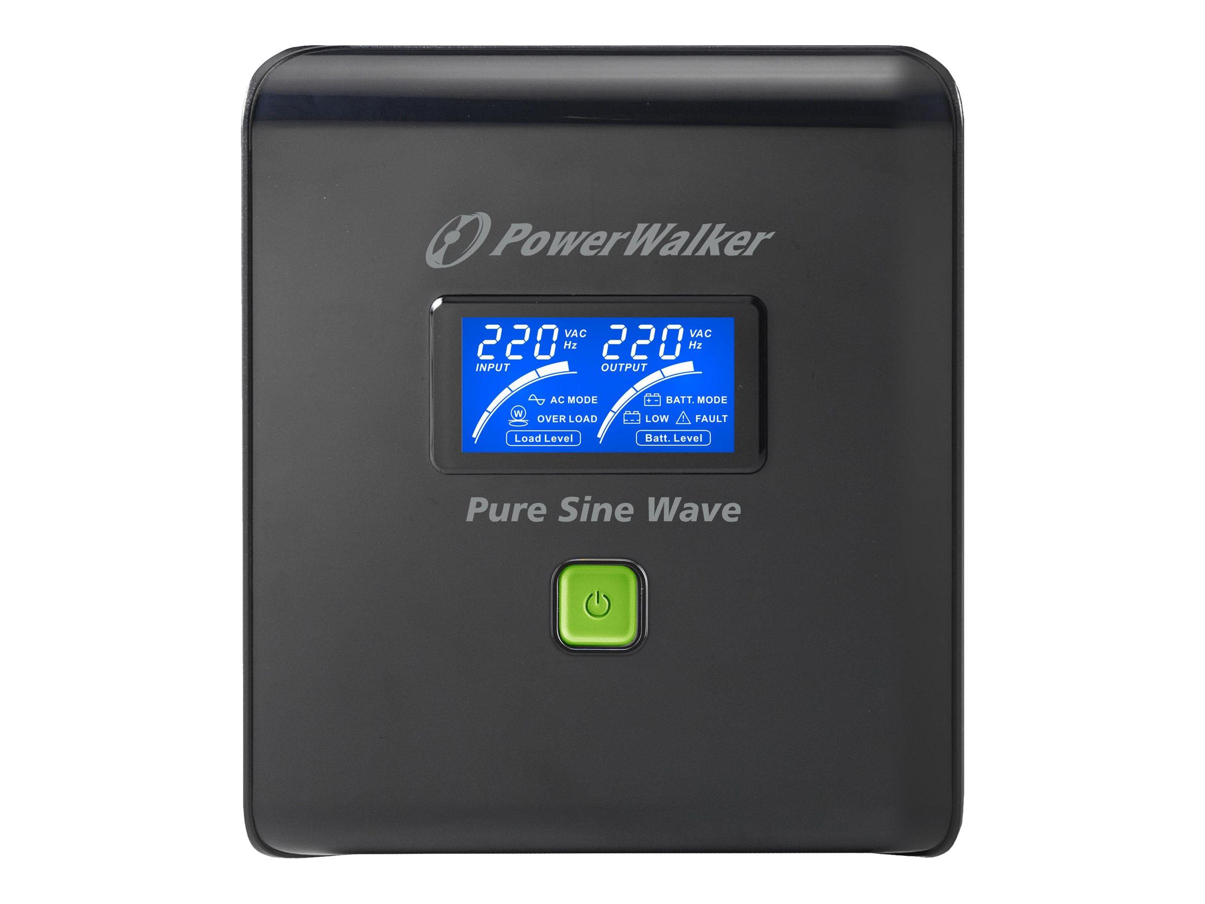 PowerWalker VI 1000 PSW/Schuko - USV - 700 Watt - 1000 VA 7 Ah - USB - Ausgangsanschlüsse: 4