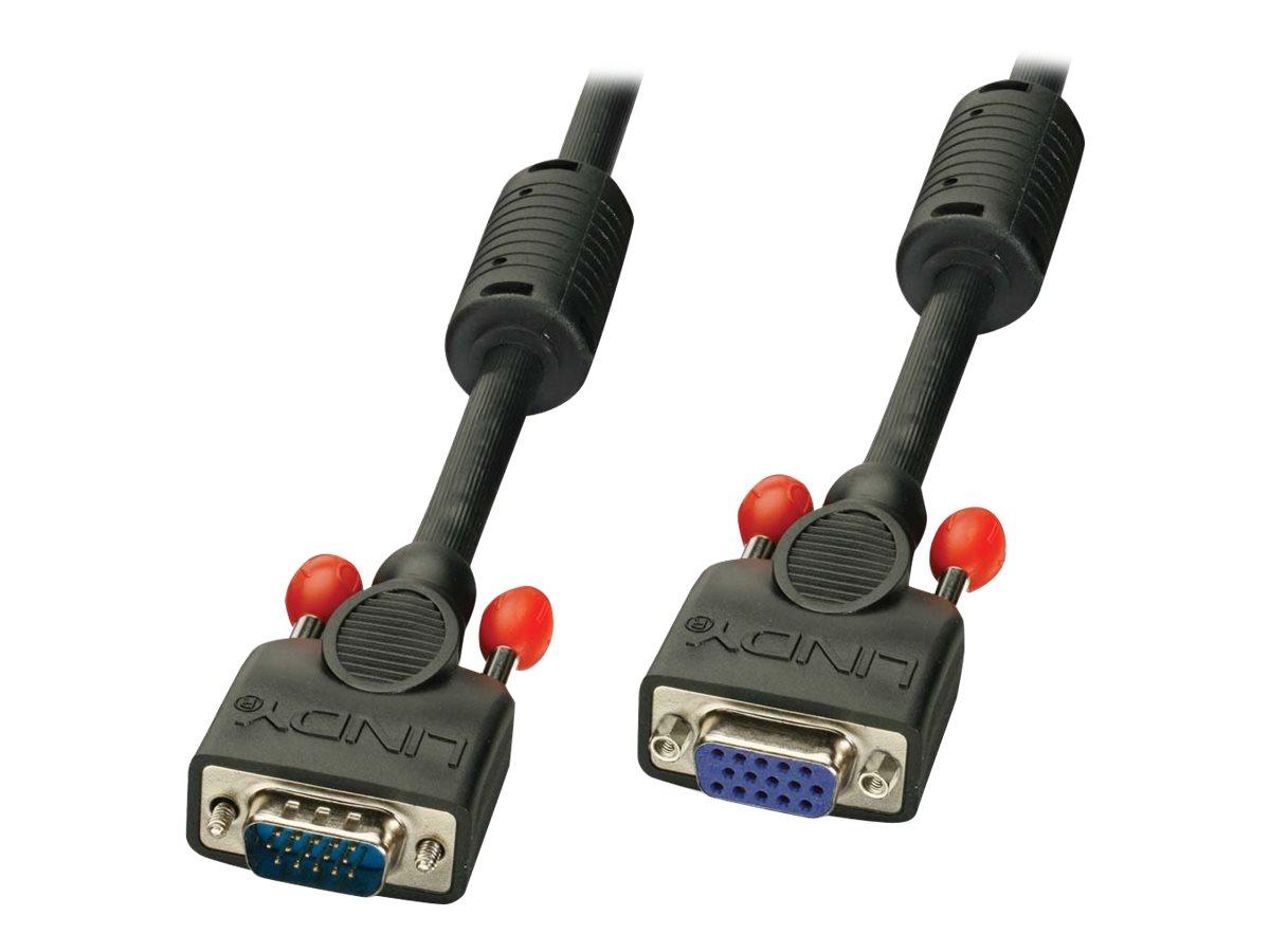 Lindy - VGA-Verlängerungskabel - HD-15 (VGA) (W) bis HD-15 (VGA) (M) - 7.5 m - geformt, Daumenschrauben - Schwarz