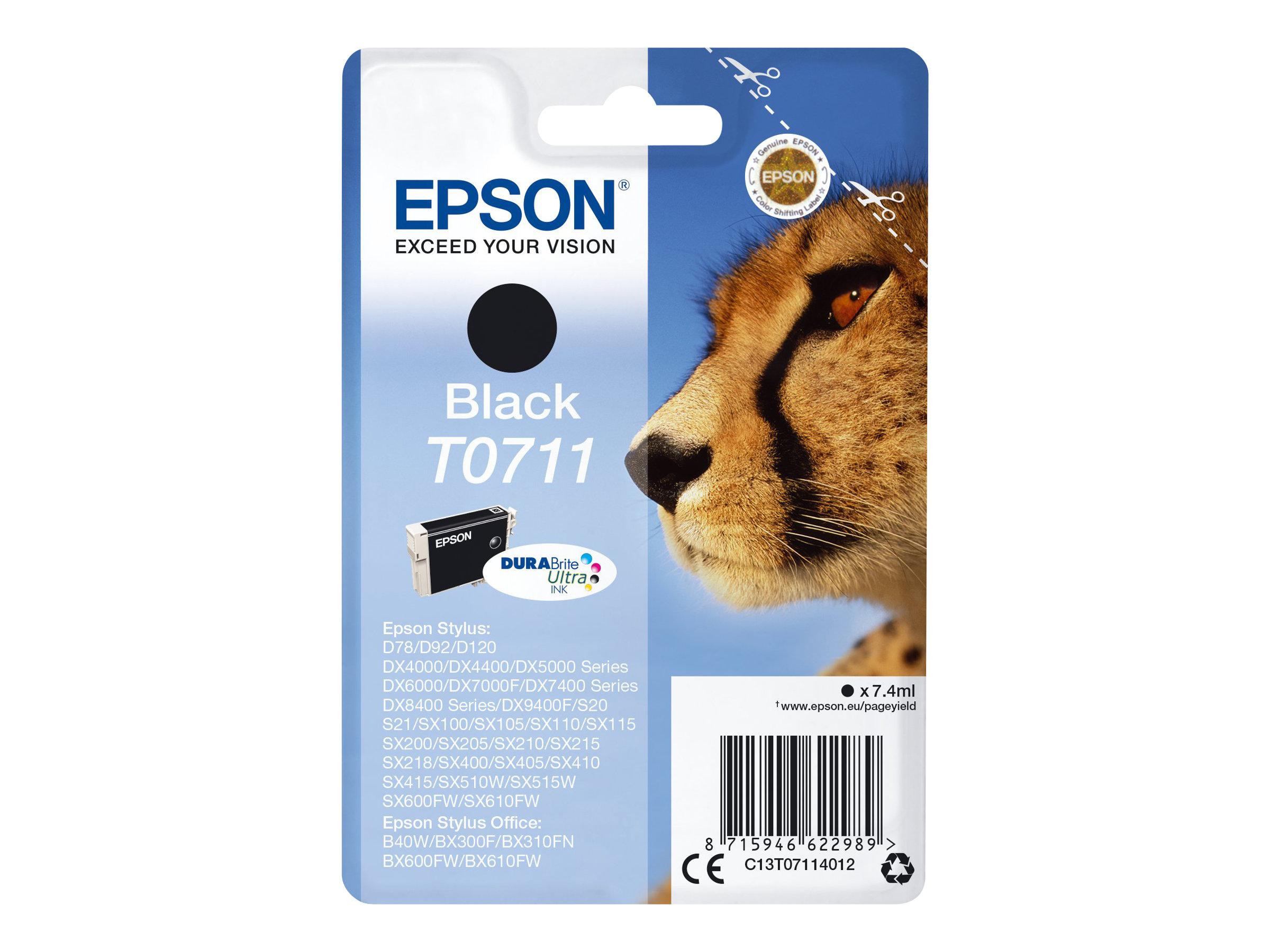 Epson T0711 - 7 ml - Schwarz - Original - Tintenpatrone - für Stylus DX9400, SX115, SX210, SX215, SX218, SX415, SX515, SX610; St