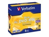 Verbatim - 5 x DVD+RW (8cm) - 1.4 GB 4x - mattsilber - Slim Jewel Case