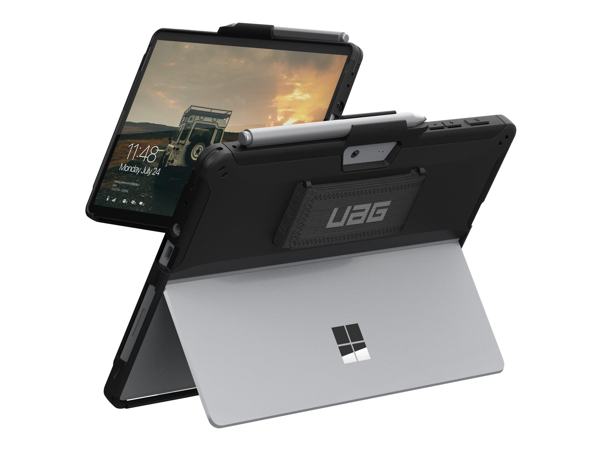 UAG Rugged Case for Microsoft Surface Go/2 w/Handstrap - Scout Black - Hintere Abdeckung für Tablet - Schwarz - für Microsoft Su