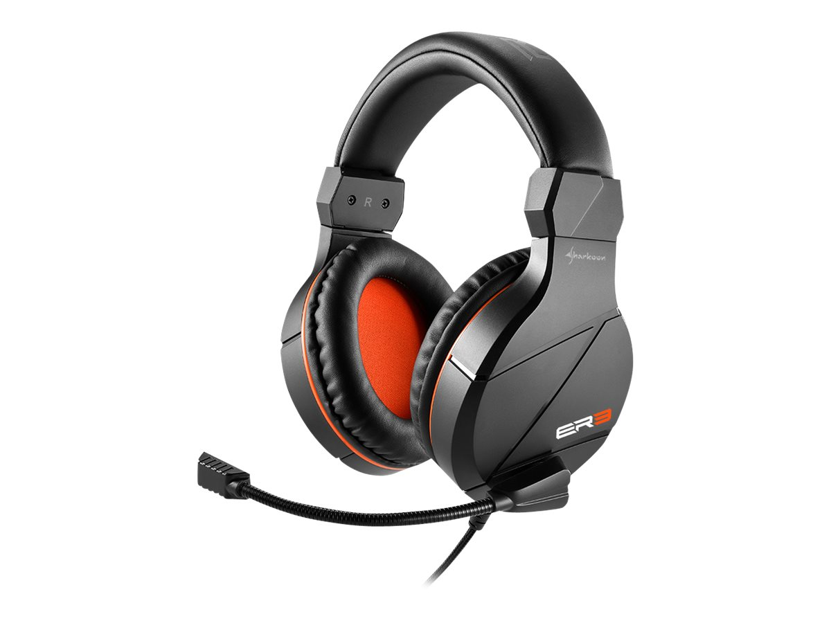 Sharkoon Rush ER3 - Headset - ohrumschliessend - kabelgebunden - Schwarz/Orange