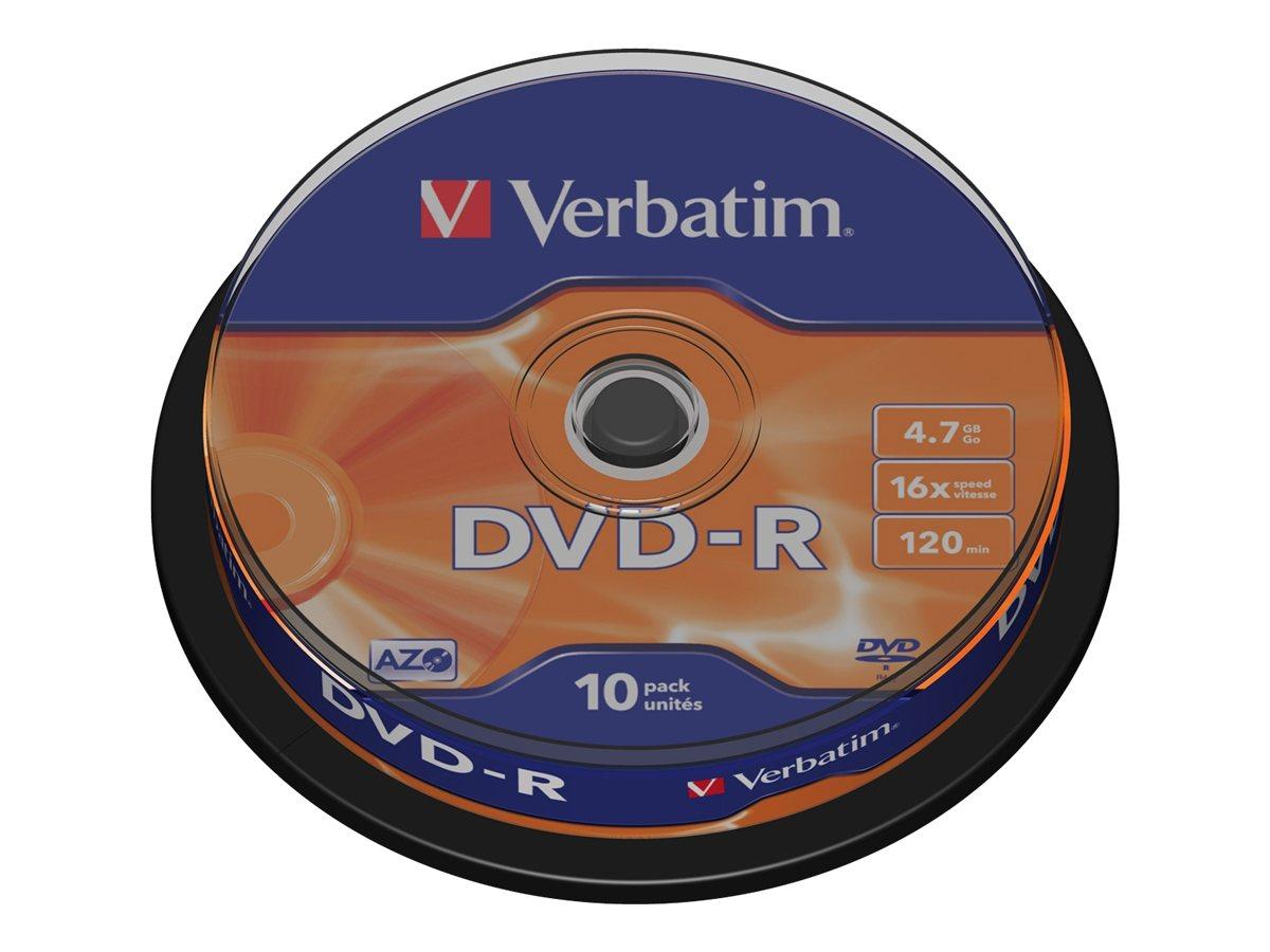 Verbatim - 10 x DVD-R - 4.7 GB 16x - mattsilber - Spindel