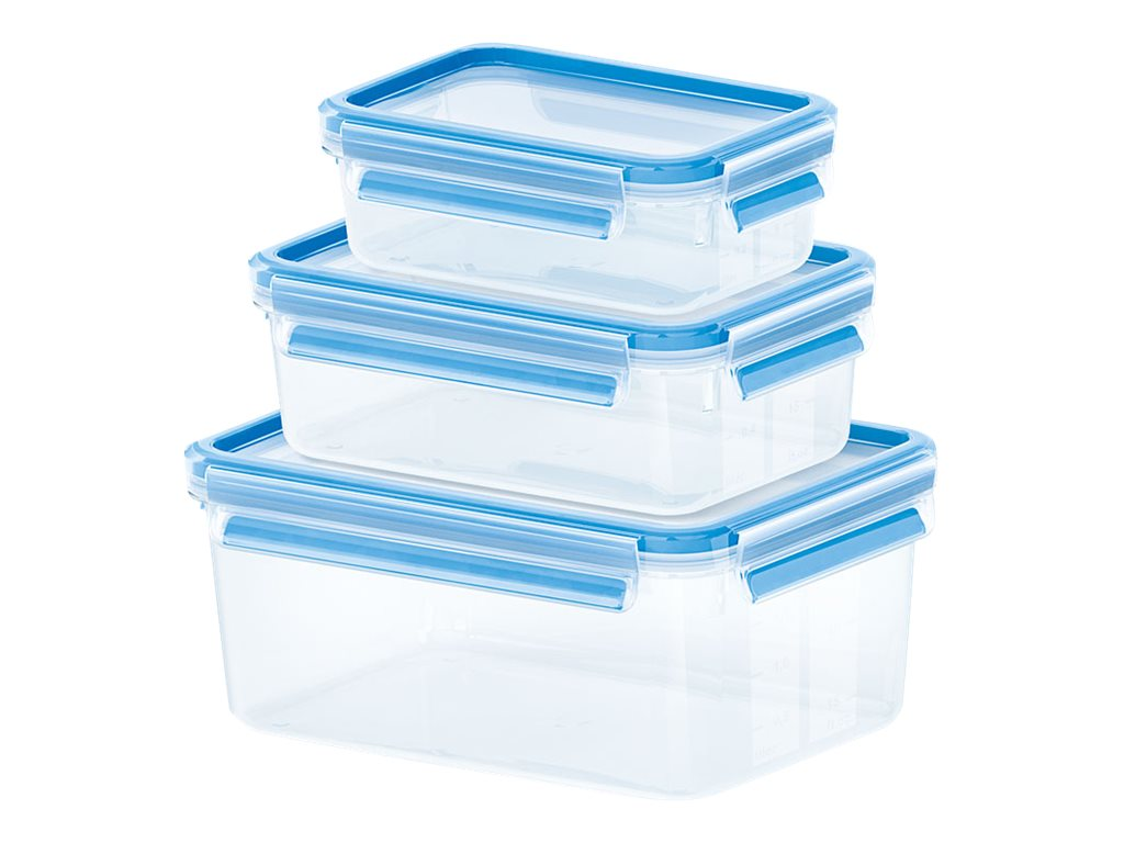 EMSA CLIP & CLOSE - Frischhaltedosen-Set - durchsichtig, Hellblau