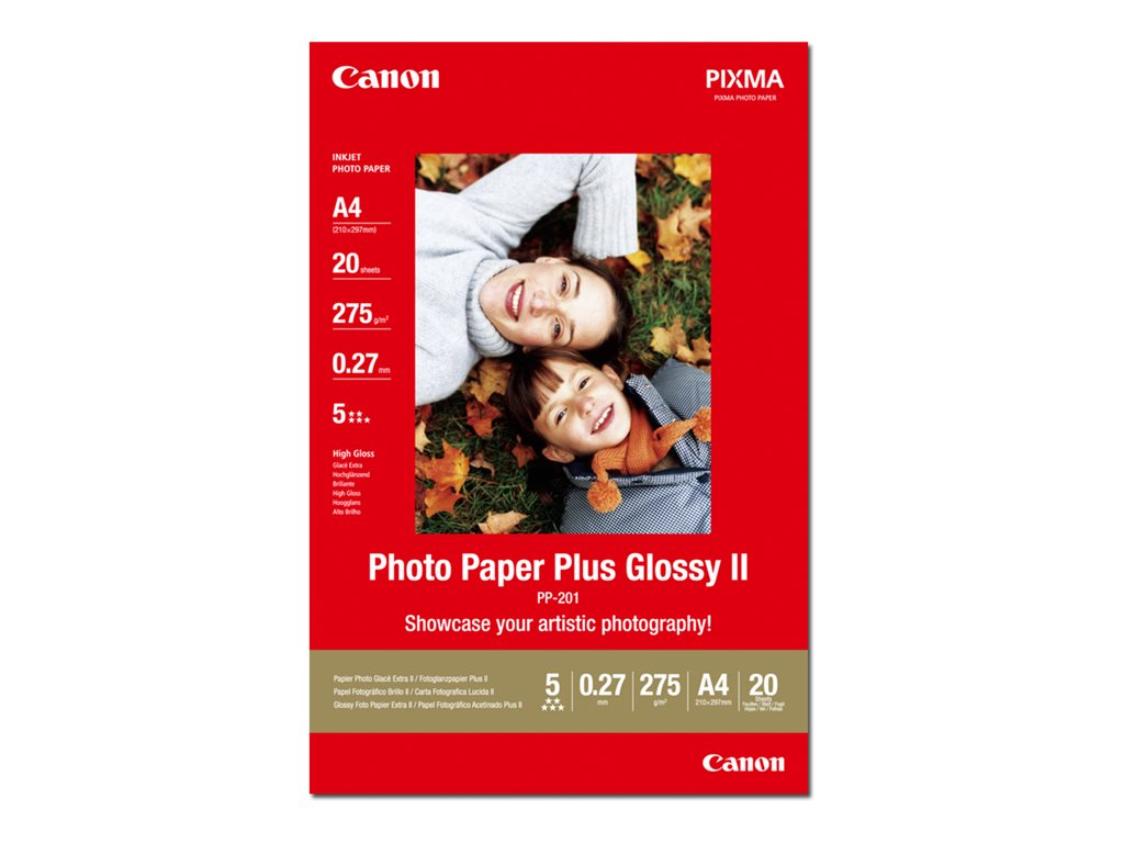 Canon Photo Paper Plus Glossy II PP-201 - Glänzend - A4 (210 x 297 mm) - 275 g/m² - 20 Blatt Fotopapier - für PIXMA iP100, iP260