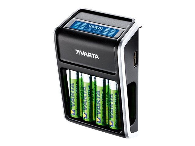 Varta LCD Plug Charger 57677 - Batterieladegerät - (für 4xAA/AAA, 1x9V) 4 x AA-Typ - NiMH - 2100 mAh