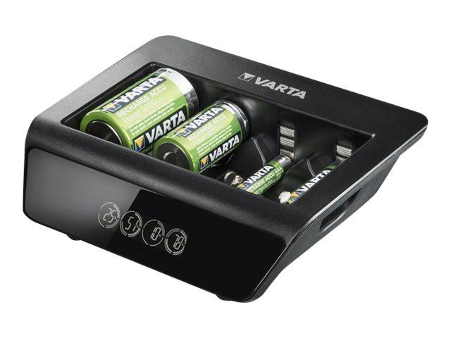 Varta LCD Universal Charger+ - 4 Std. Batterieladegerät - (für 4xAA/4xAAA, 4xD, 4xC, 1x9V) + AC-Netzteil (USB)