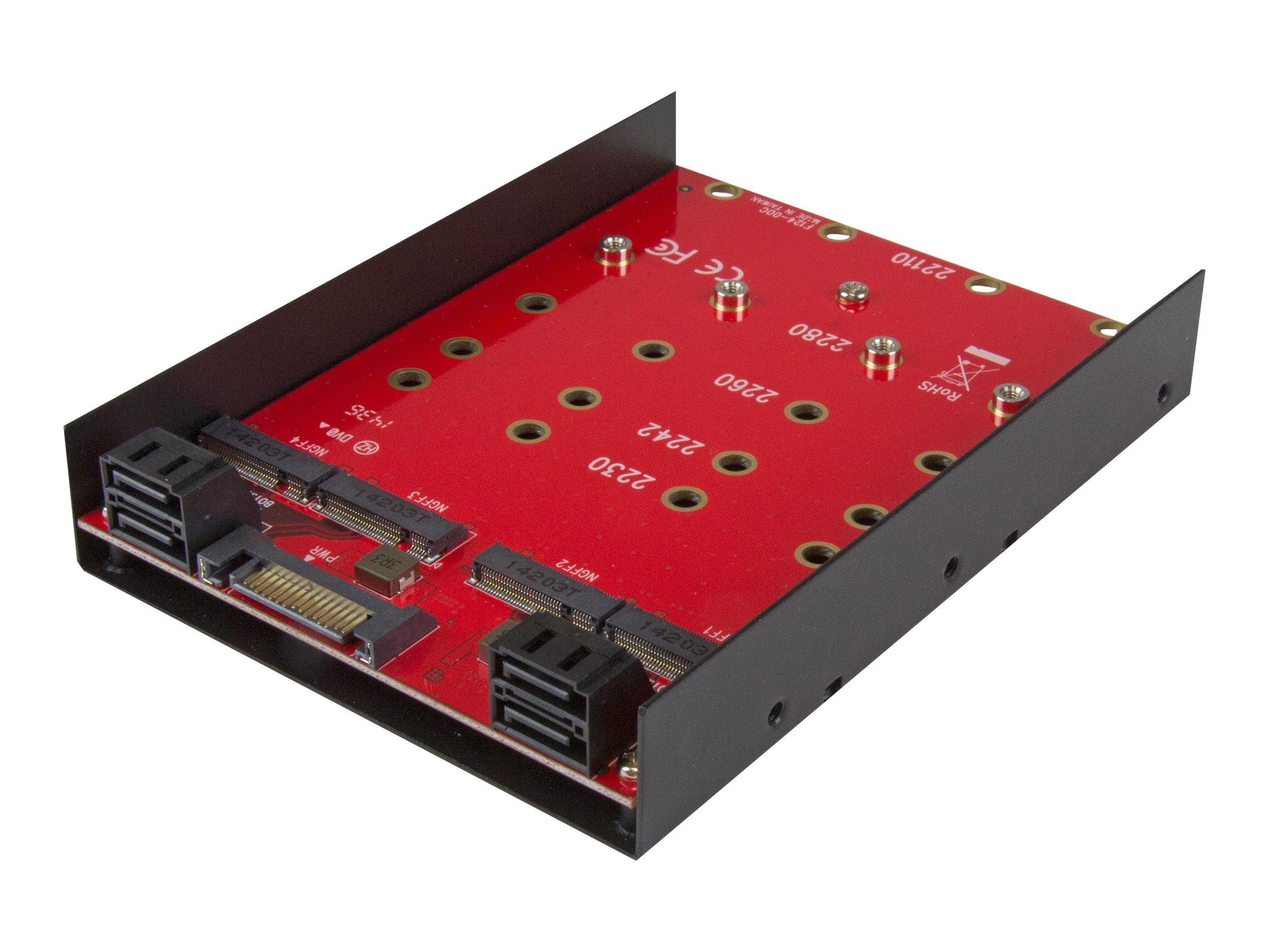 StarTech.com 4x M.2 SATA Adapter für 3,5 Einbauschacht - 4-fach M.2 zu SATA Konverter für 3,5 Zoll Schacht - Speicher-Controller