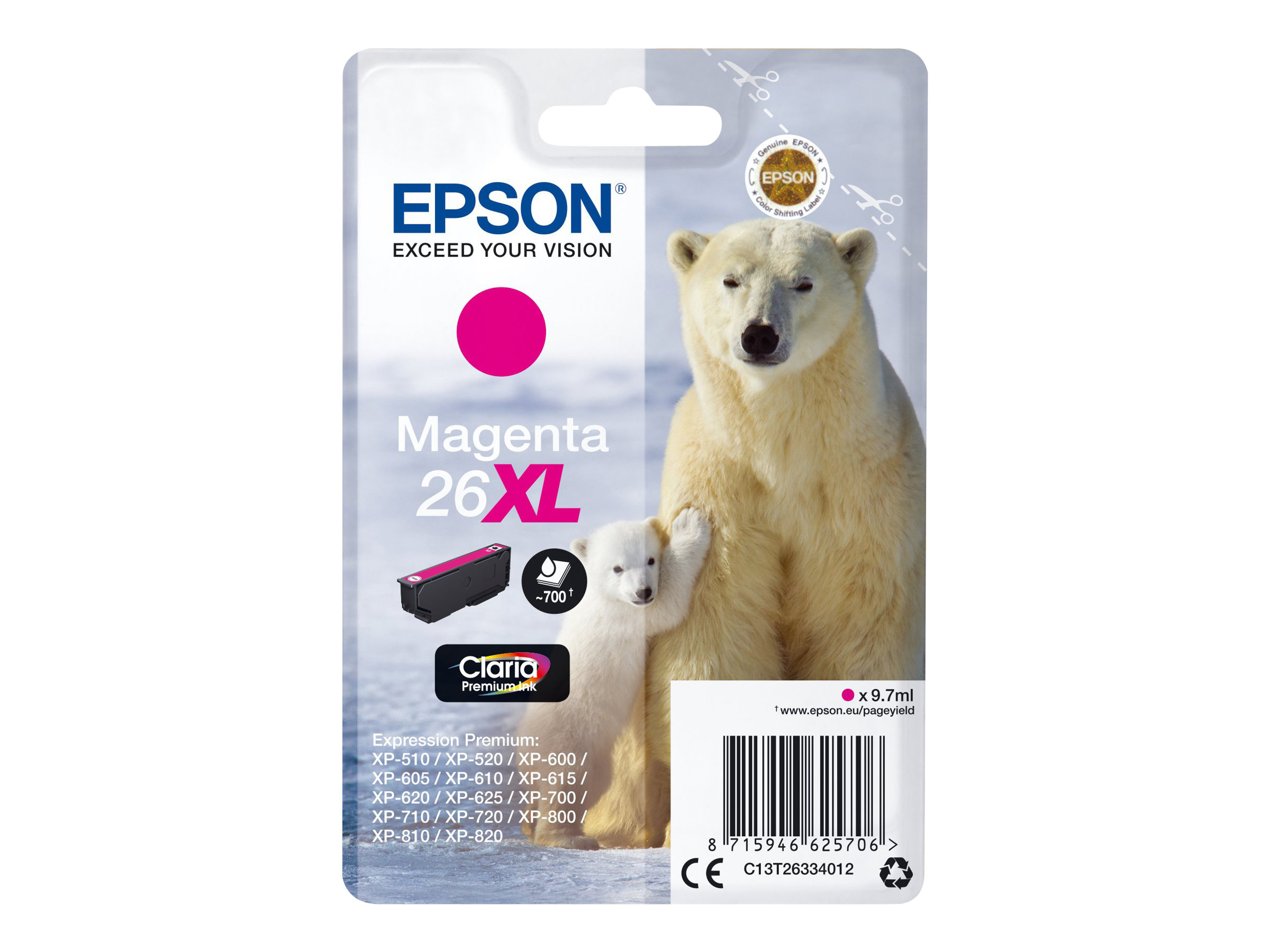 Epson 26XL - 9.7 ml - XL - Magenta - Original - Blisterverpackung