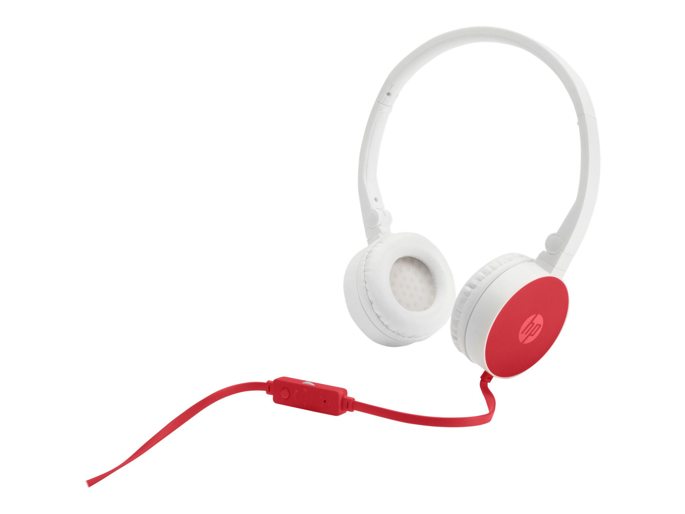 HP H2800 - Kopfhörer mit Mikrofon - On-Ear - kabelgebunden - 3,5 mm Stecker - Rot