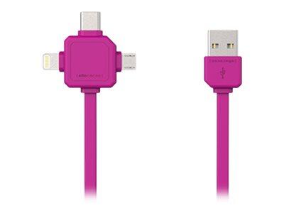 Allocacoc - Lightning-Kabel - USB (M) bis Micro-USB Typ B, Lightning, USB-C (M) - 1.5 m - mytisches Magenta
