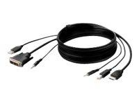 Belkin Secure KVM Combo Cable - Video- / USB- / Audio-Kabel - TAA-konform - USB, Mini-Stecker, DVI-D (M) bis USB Typ B, Mini-Ste