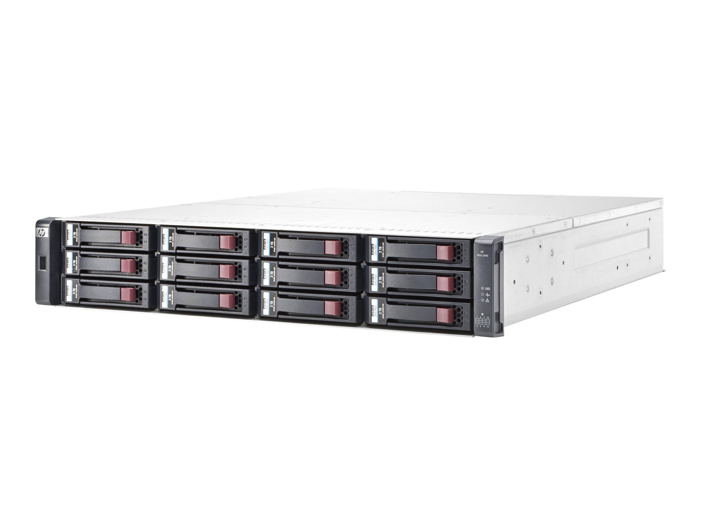 HPE Modular Smart Array 2040 SAN Dual Controller LFF Storage - Festplatten-Array - 12 Schächte (SAS-2) - 8Gb Fibre Channel, iSCS