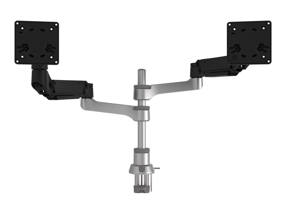 R-Go Caparo 4 Twin - Befestigungskit für 2 Monitore (einstellbarer Arm) - Aluminium - mattsilber - Bildschirmgrösse: bis zu 66 c