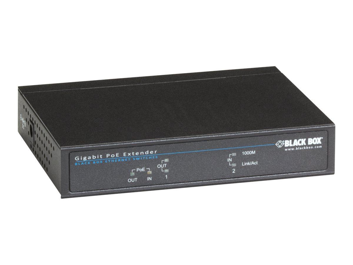 Black Box Gigabit PoE Repeater - Repeater - GigE - 10Base-T, 100Base-TX, 1000Base-T - RJ-45 / RJ-45 - bis zu 300 m