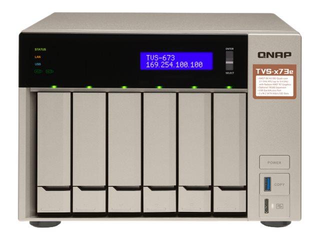 QNAP TVS-673e - NAS-Server - 6 Schächte - SATA 6Gb/s - RAID 0, 1, 5, 6, 10, 50, JBOD, 5 Hot Ersatzteil, 6 Hot Ersatzteil, 60, 50