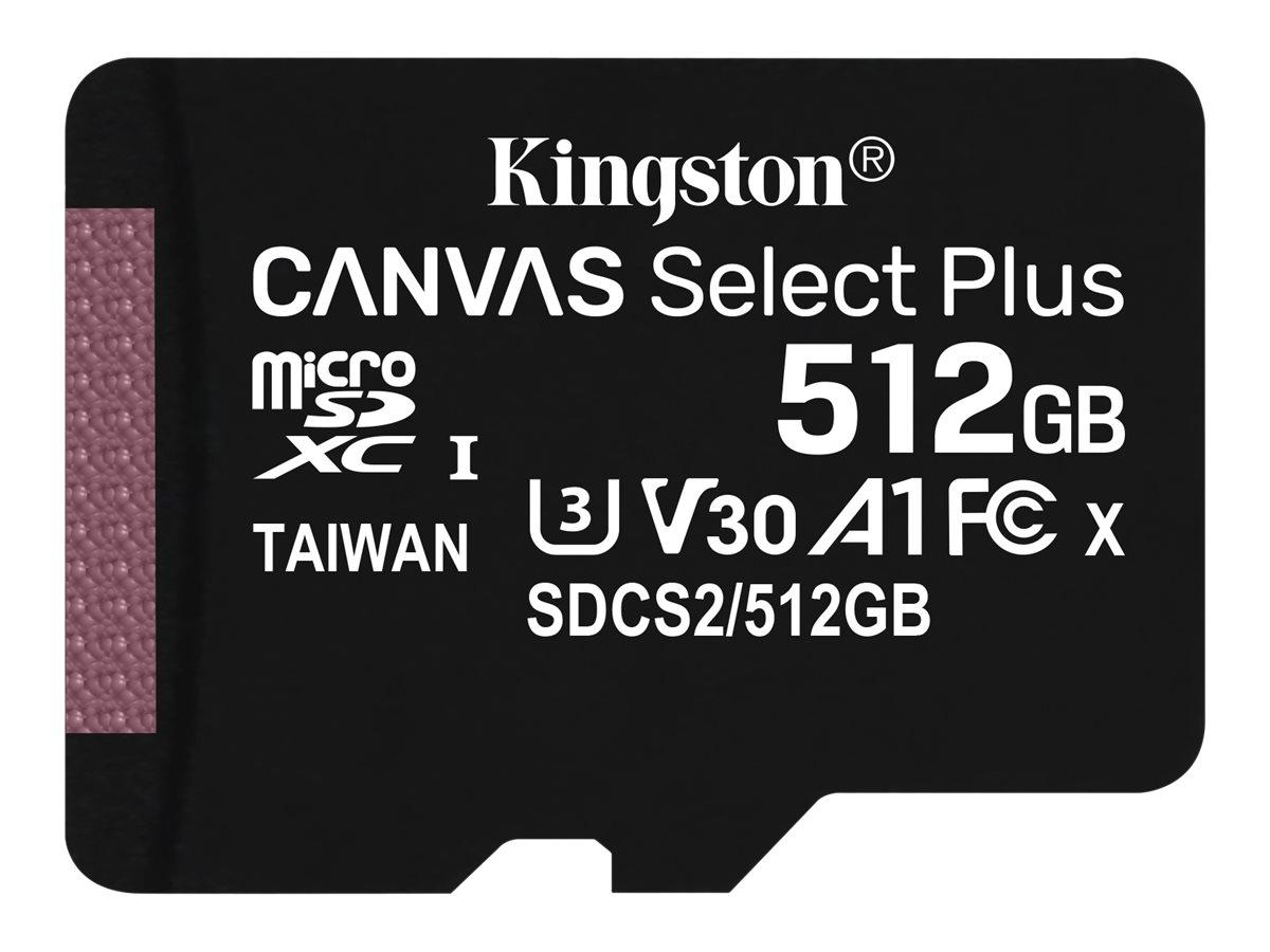 Kingston Canvas Select Plus - Flash-Speicherkarte - 512 GB - A1 / Video Class V30 / UHS Class 3 / Class10 - SDXC UHS-I