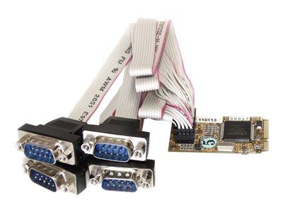 StarTech.com 4 Port Seriell RS232 Mini PCI Express Karte mit 16650 UART - Serielle 4 Port RS-232 / DB9 mini PCIe Karte - Seriell