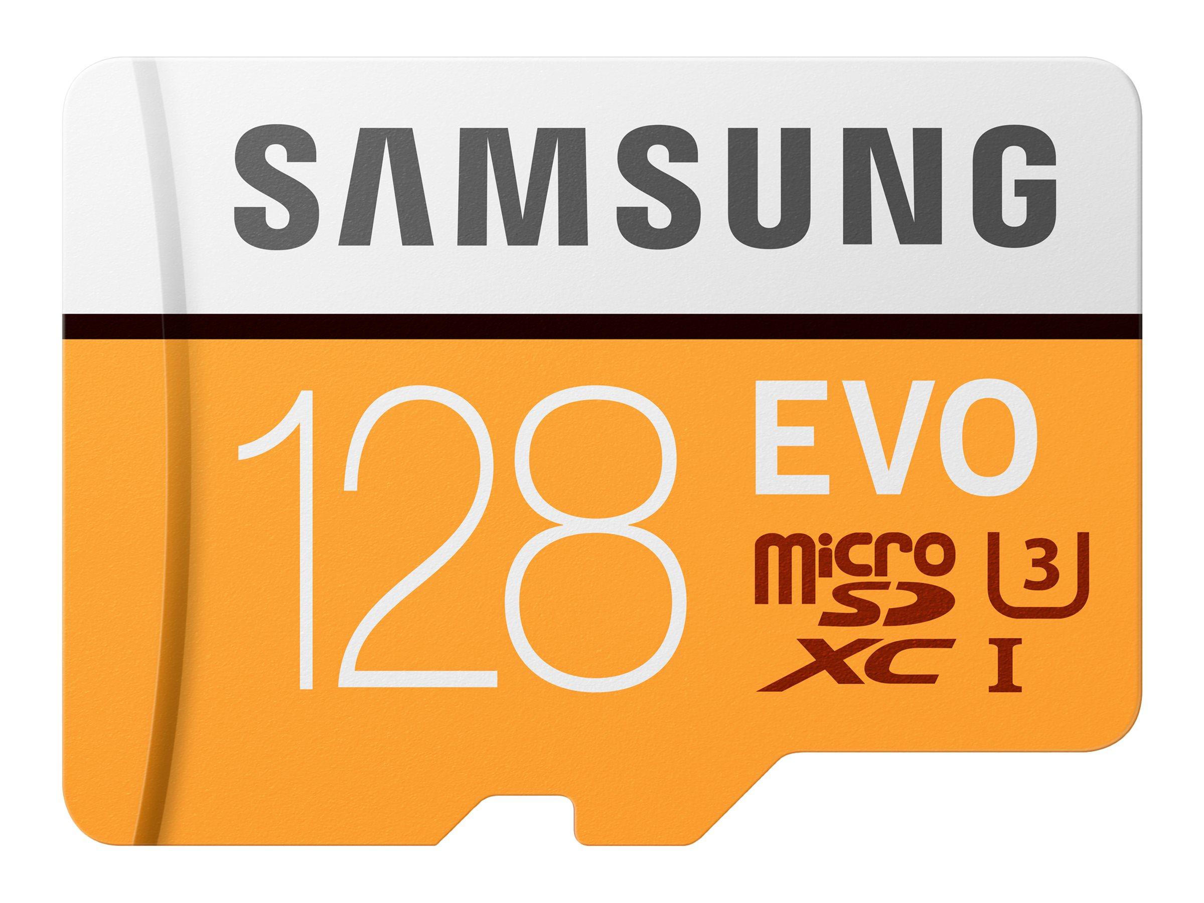 Samsung EVO MB-MP128GA - Flash-Speicherkarte (microSDXC-an-SD-Adapter inbegriffen) - 128 GB - UHS-I U3 / Class10 - microSDXC UHS
