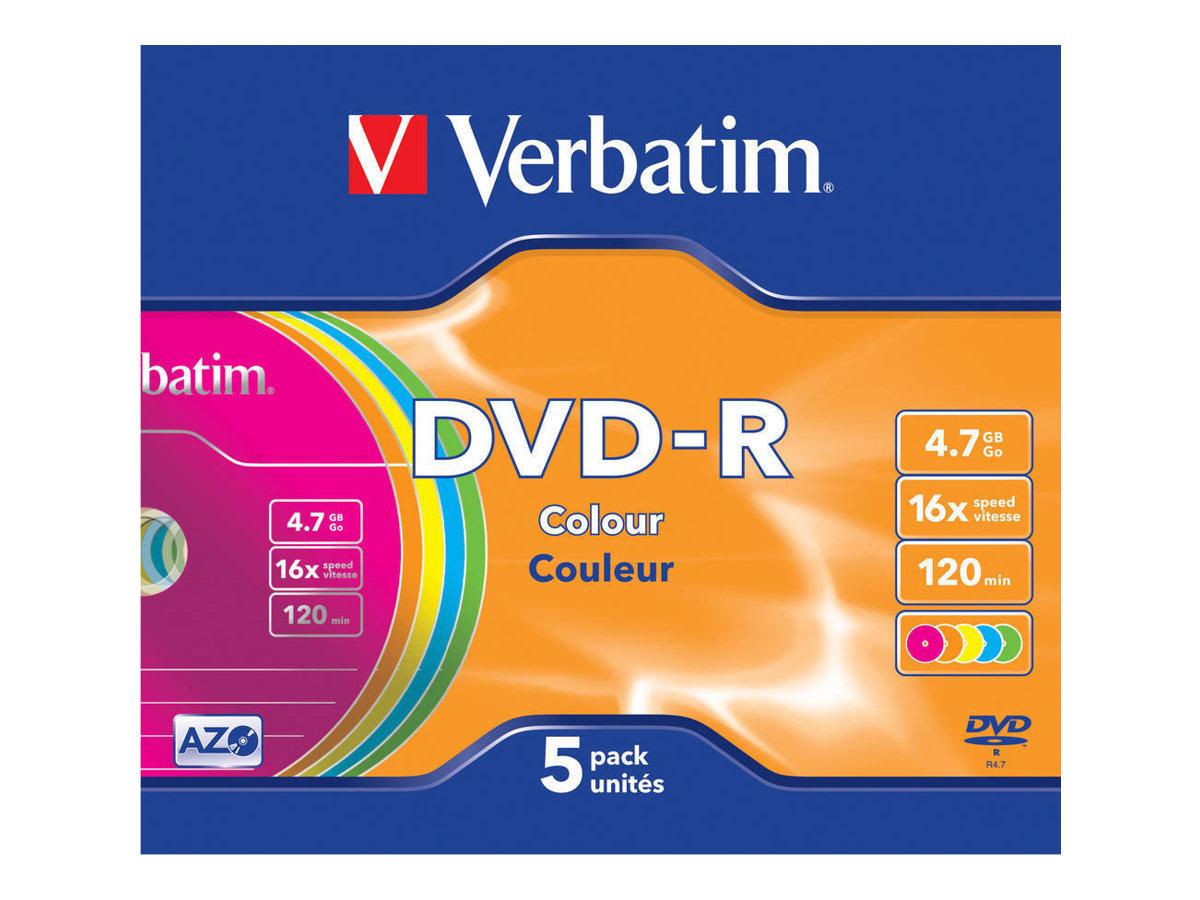 Verbatim Colours - 5 x DVD-R - 4.7 GB 16x